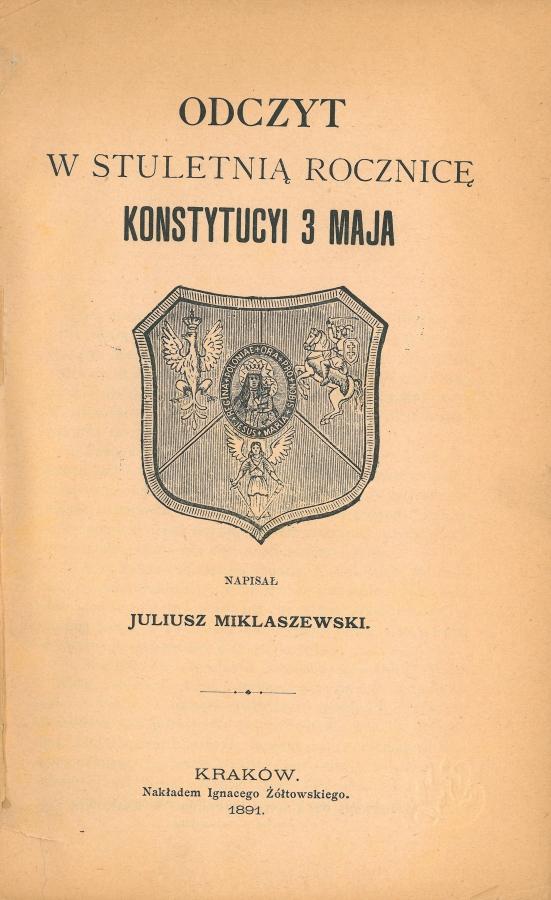 odczyt w stuletnią rocznicę konstytucyi 3 maja